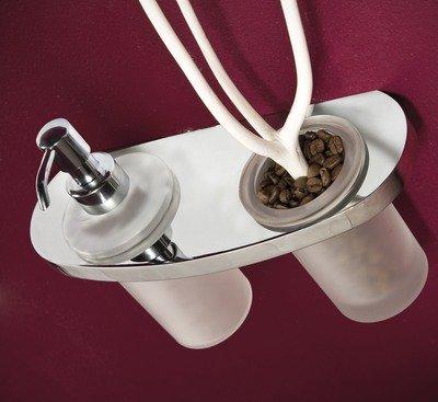 House Design Traccia Porta Spazzolini e Dispenser Finitura Ottone Cromato