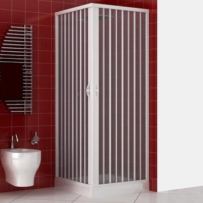 Box doccia 70x70 cm in acrilico con apertura a soffietto e riducibile su misura