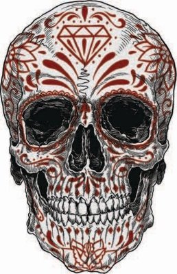 Red Candy Skull Sticker