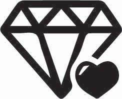 Diamond and Heart Sticker