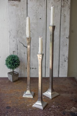 Antique Silver Aluminum Candle Holders