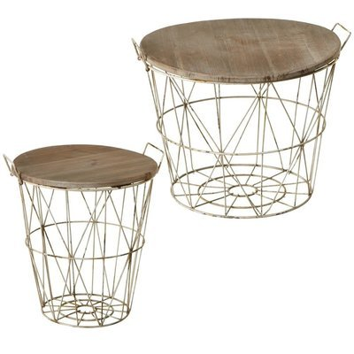 Wood Top Nested Side Tables