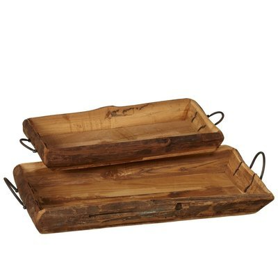 Vintage Carved Trays with Handle
