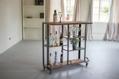 Recycled Honey Wood & Raw Metal Rolling Bar