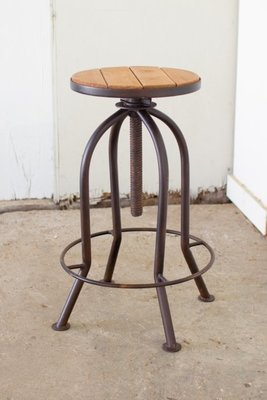 Adjustable Bar Stool - Rustic Finish