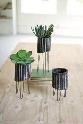 Black & White Clay Cylinders w/ Wire Baskets