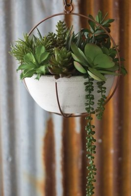 White Clay Bowl Planter with Copper Holder