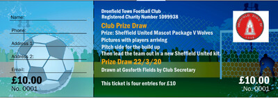 Sheff Utd Match Day mascot package 4 entries into the prize draw for  £10
