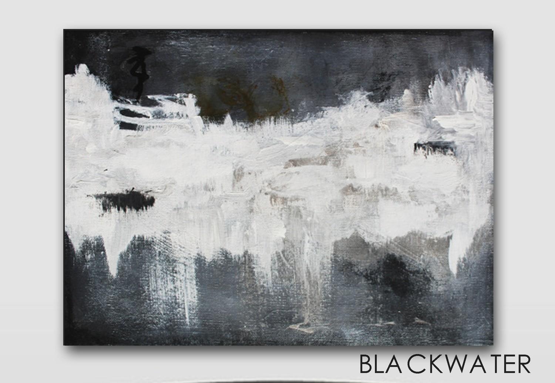 Black White Abstract Original Art Painting - BLACKWATER