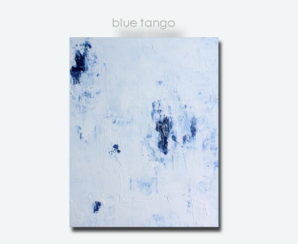 BLUE TANGO Impasto Blue White Abstract Art