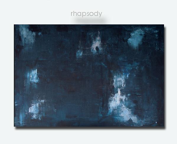 Dark Blue Abstract Art Painting - RHAPSODY