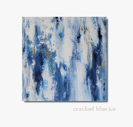 Large Blue White Abstract Painting - CRACKED BLUE ICE