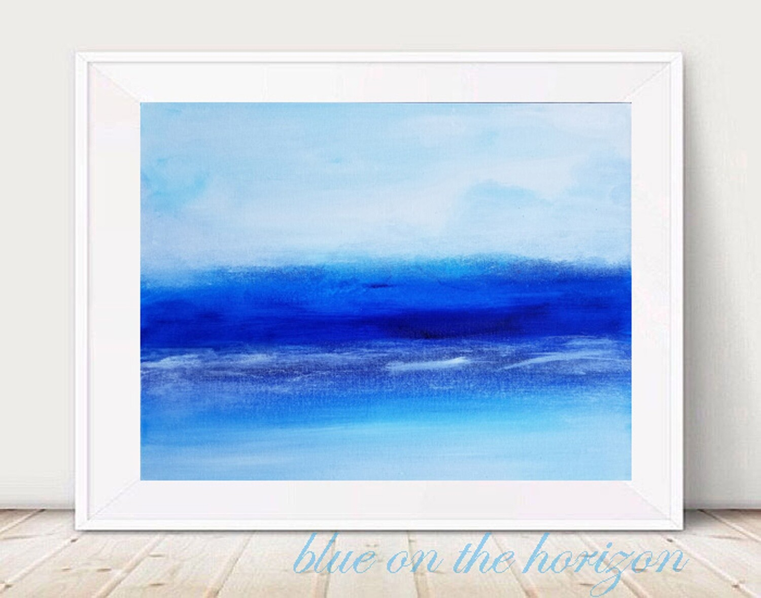 Blue on the Horizon - Abstract Art Blue White