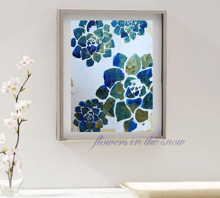 Floral Abstract Art Painting - FLOWERS IN THE SNOW - - FREE BOGO