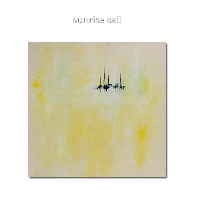 Yellow Abstract Original Art Painting - SUNRISE SAIL