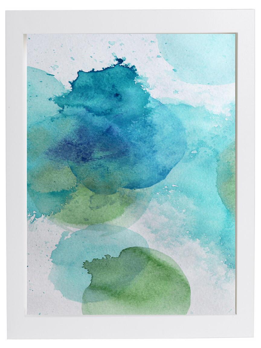 BLUE DROPS Watercolor Print