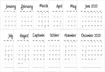 2020 12-Month Planner Bundle Blank and Simple Classic (Half Size 8.5 x 5.5)