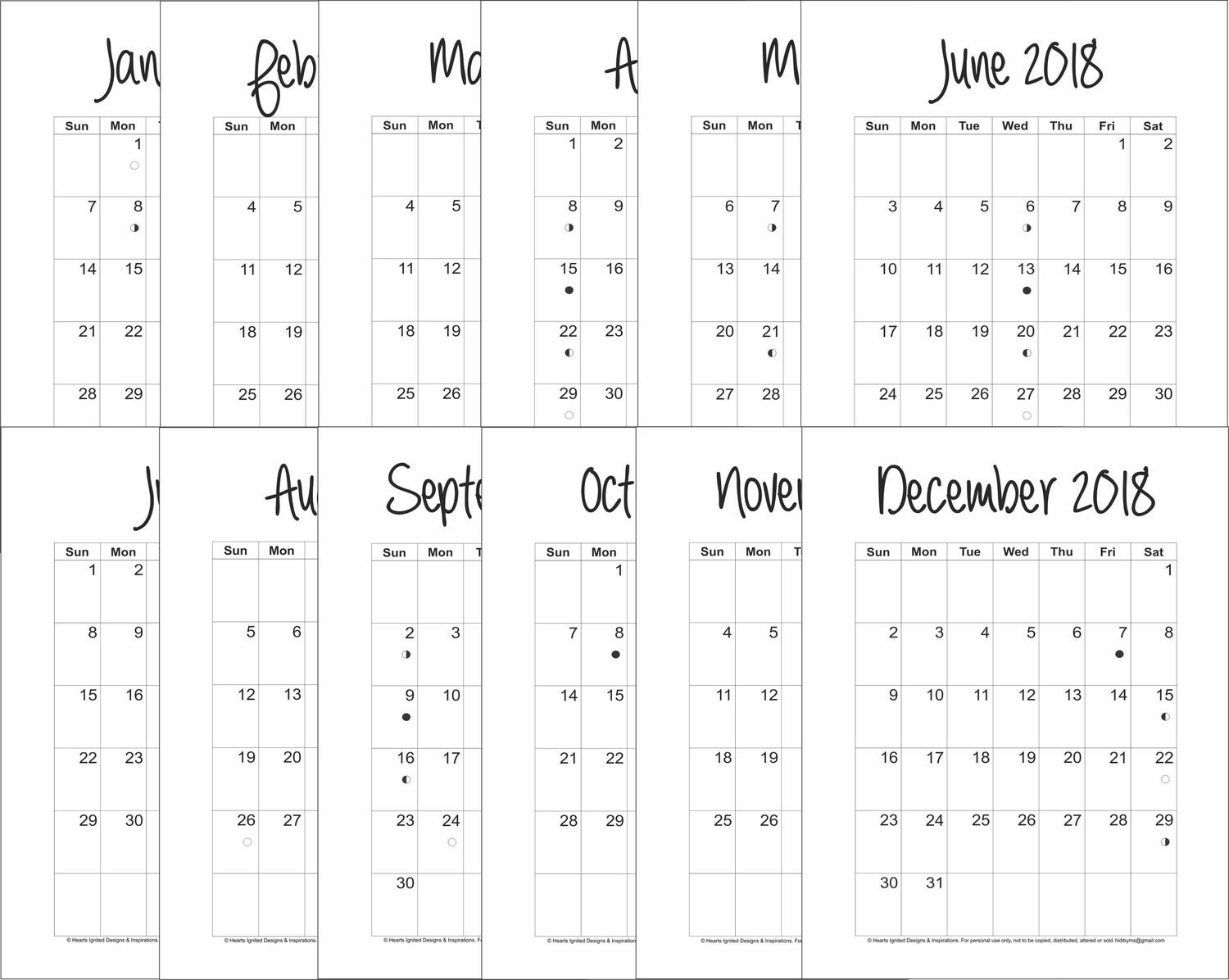 2018 12-Month Planner Bundle Blank and Simple - Monarch (Letter Size 11 x 8.5)