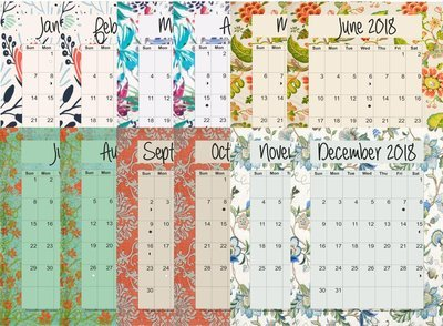 2018 12-Month Planner Bundle Lots of Fabric All Designs - Monarch (Letter Size 11 x 8.5)