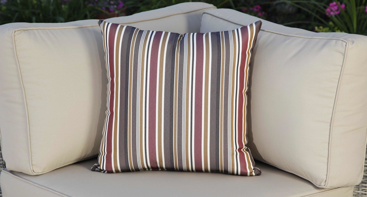 Outdoor Throw Pillow Red Striped