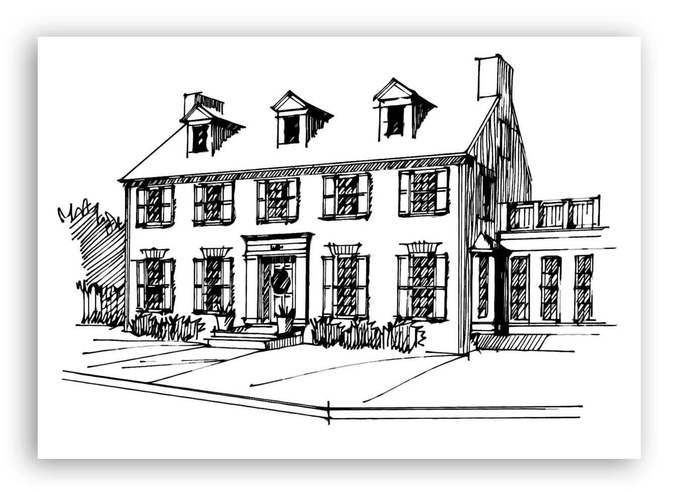 Hand-Drawn Black and White Architectural Home Sketch 00001