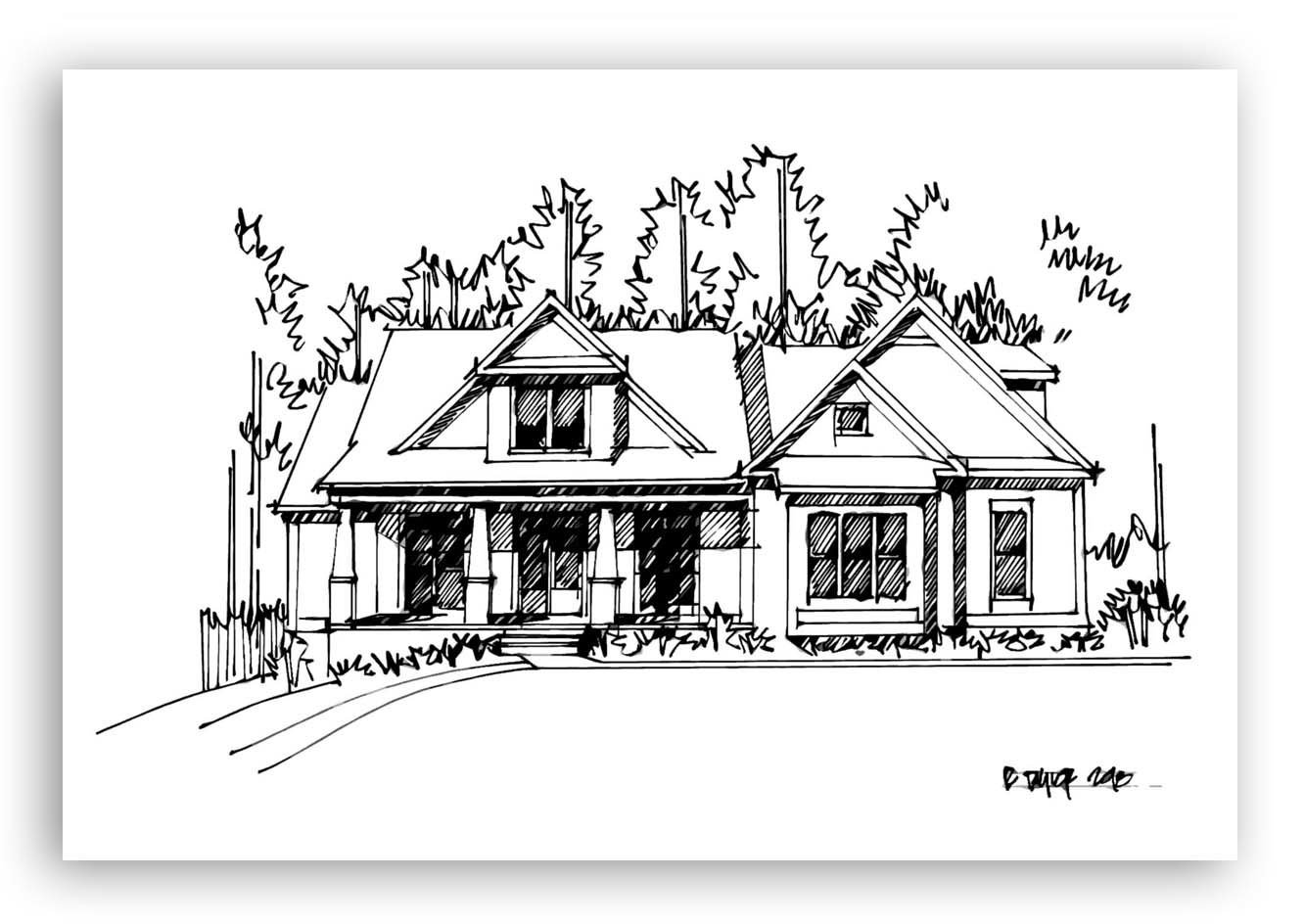 Hand-Drawn Black and White Architectural Home Sketch