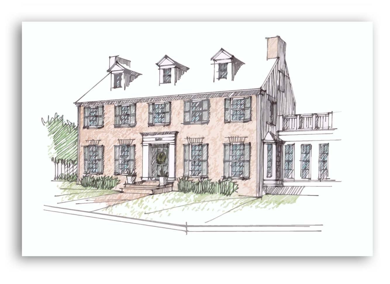 Hand-Drawn Color Architectural Home Sketch 00002