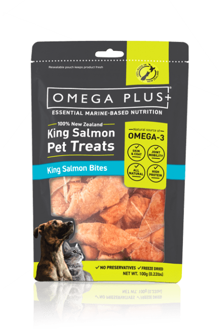 Salmon Bites Cat & Dog Treats 100g omega-plus-salmon-bites