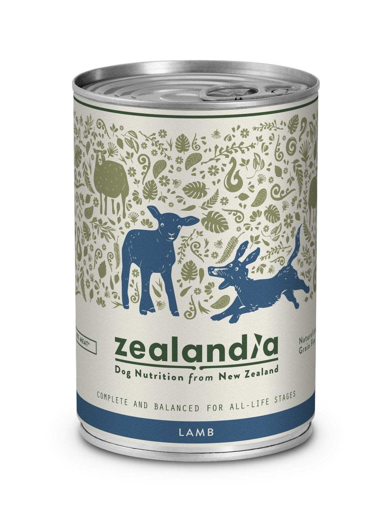 Free Range NZ Lamb 370g Tin Dog Singles or 12 Pkt are on SALE copy-of-zealandia-dog-free-range-nz-lamb-370g-tin