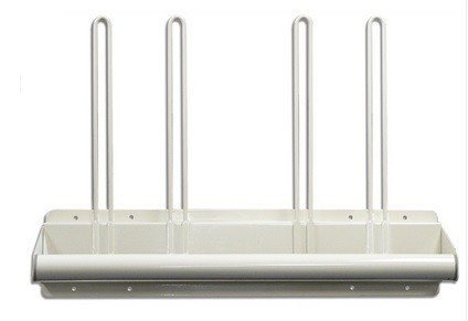 Wall Mounted Steel Apron Rack, Towel Bar Style, with Four Glove Holders #AGP-115
