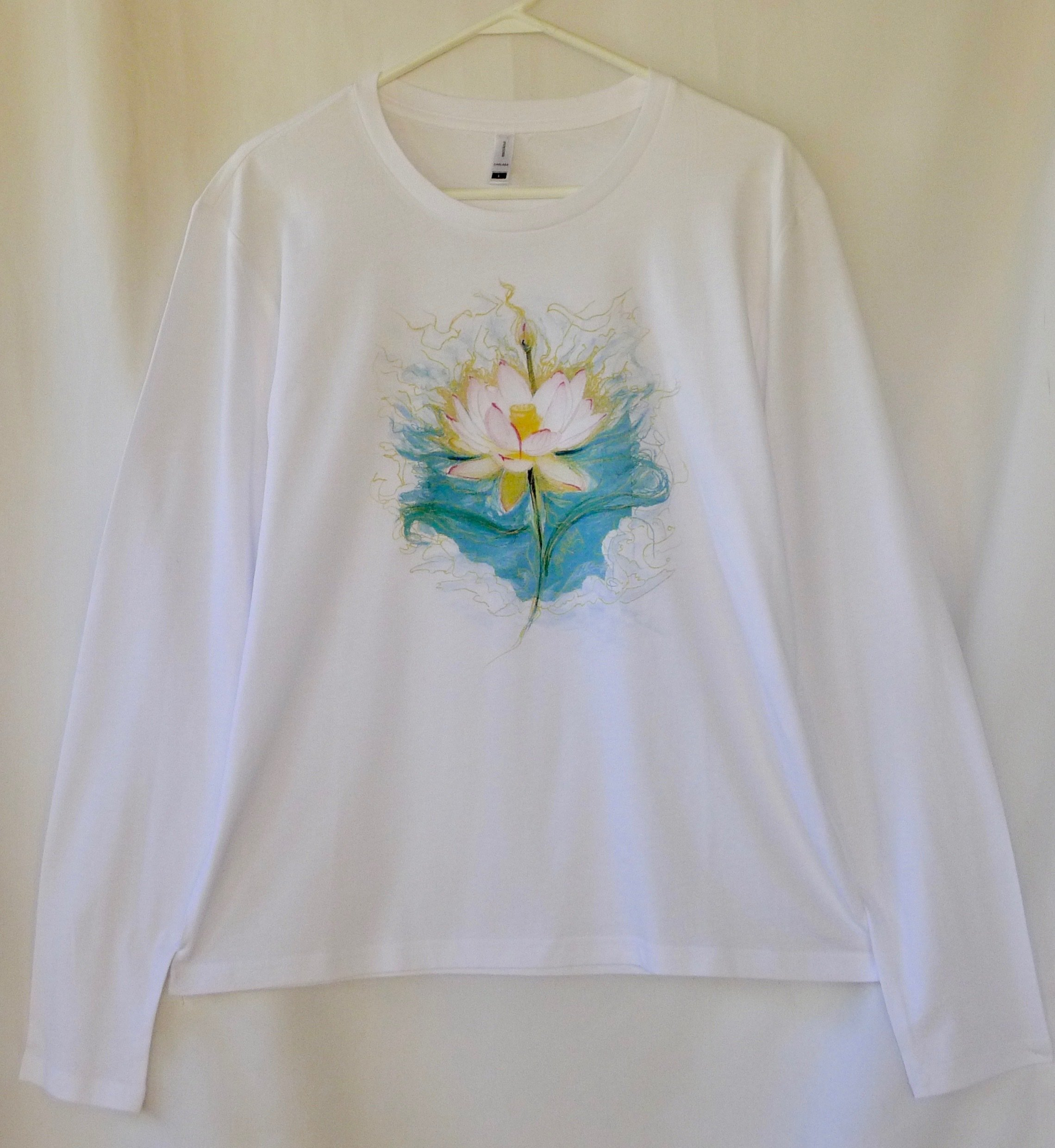 Ladies Long Sleeve. Blue Lotus Design 00016