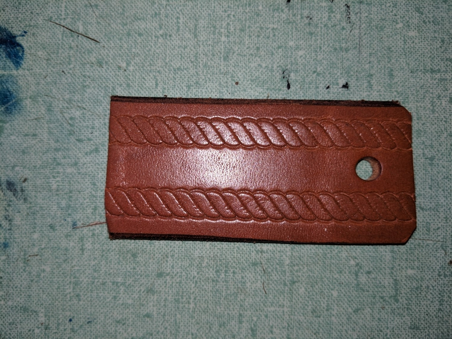 Twisted Rope pattern leather belt Amish handmade in Maine