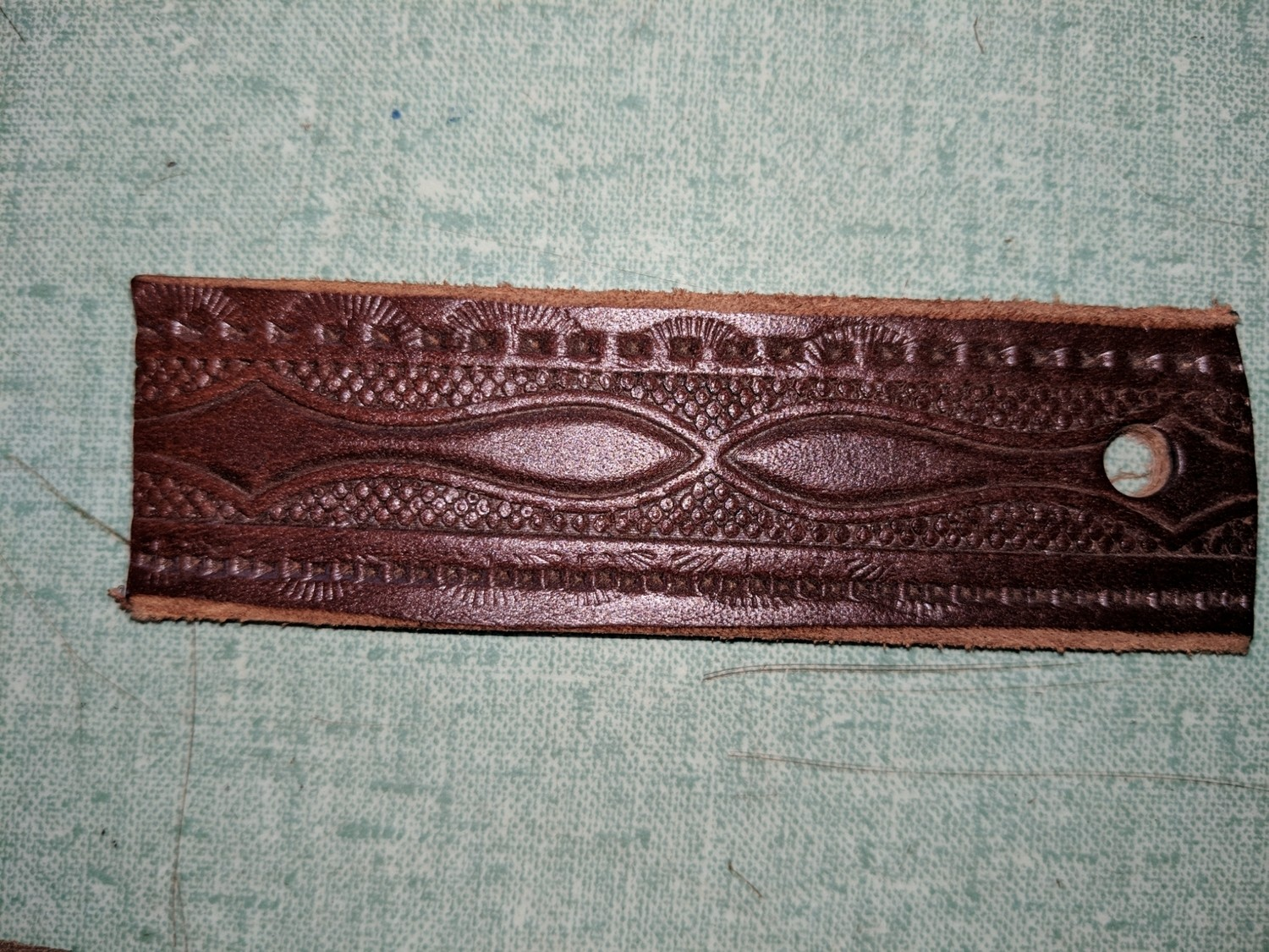 Paddle pattern leather belt Amish handmade in Maine