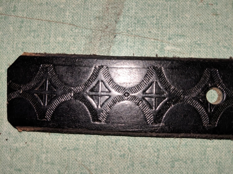 Diamond pattern leather belt Amish handmade in Maine