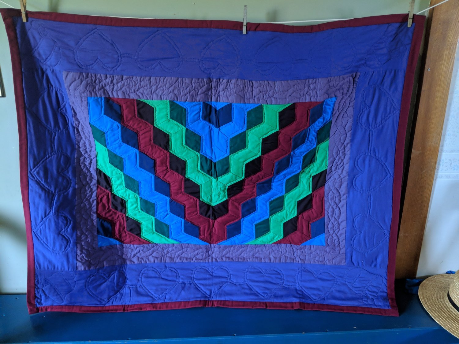 Amish Hand Crafted Stairway Tumbler Block Quilt