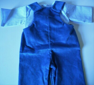 Out fit - blue dungarees and striped top in 3 sizes