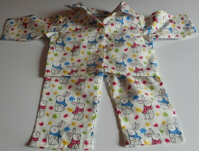 Pyjamas with collar - rabbit print, cotton