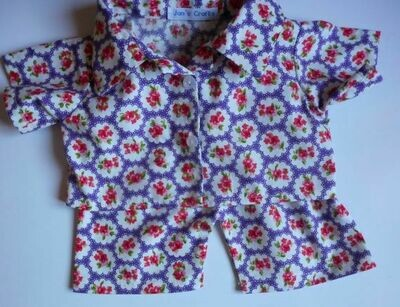 Pyjamas with collar - purple floral print