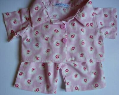 Pyjamas with collar - pink floral print