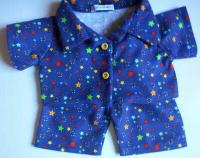 Pyjamas with collar - Star print, brushed cotton.