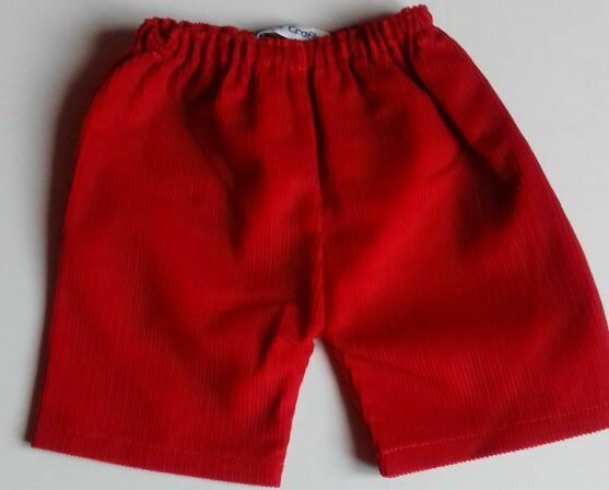 Trousers with back pockets - Red corduroy
