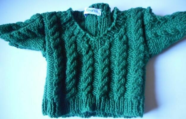 Jumper, racing green cable v neck - bear 36cm/ 14 inches high