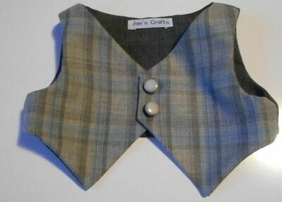 Waistcoat - Grey check wool mix with plain lining