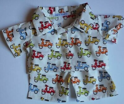 Pyjamas with collar - scooter print