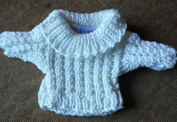 Jumper, cream cable roll neck - small bear 16cm/ 6 inches high
