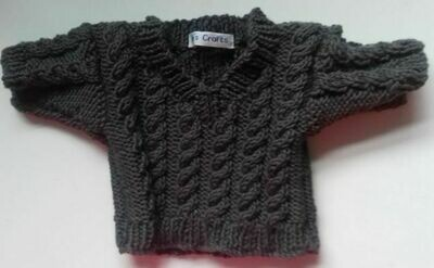 Jumper, dark grey cable v neck - bear 36cm/ 14 inches high