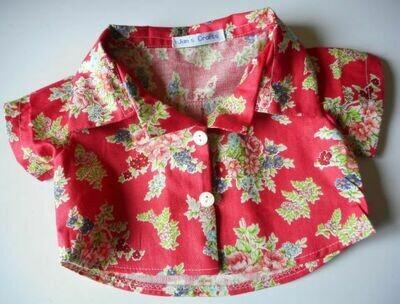 Short sleeved shirt - red floral print
