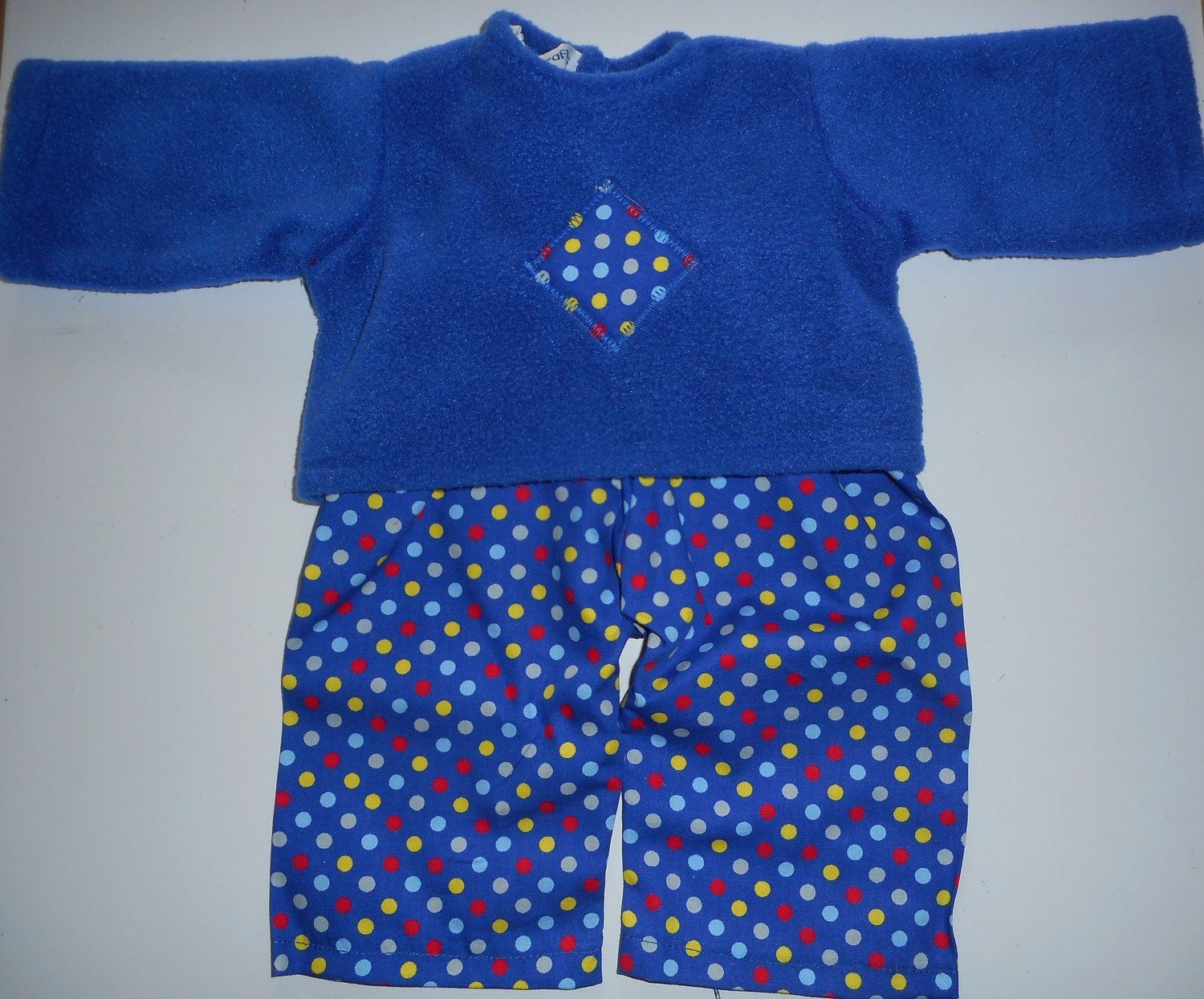 Pyjamas - fleece top and fabric trousers - royal blue