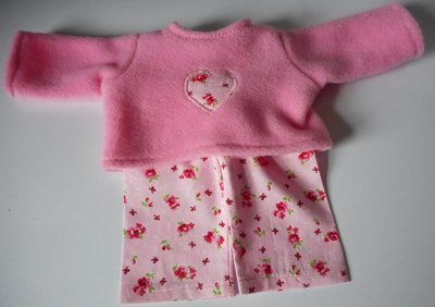 Pyjamas - fleece top and fabric trousers - pink