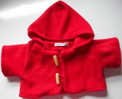 Coat - hooded, red fleece